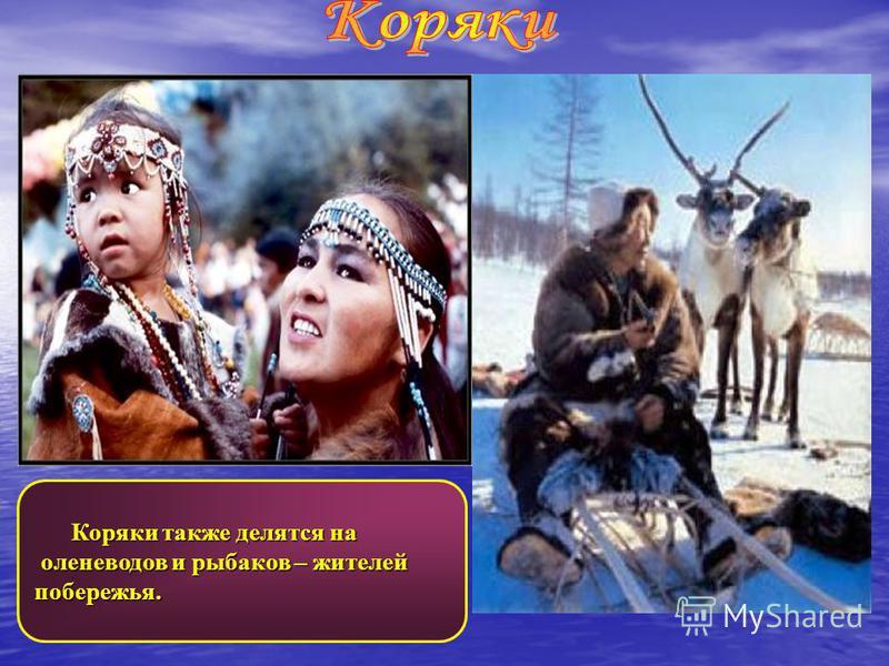 Коряки также делятся на Коряки также делятся на оленеводов и рыбаков – жителей оленеводов и рыбаков – жителей побережья.