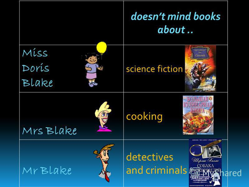 doesnt mind books about.. Miss Doris Blake science fiction Mrs Blake cooking Mr Blake detectives and criminals
