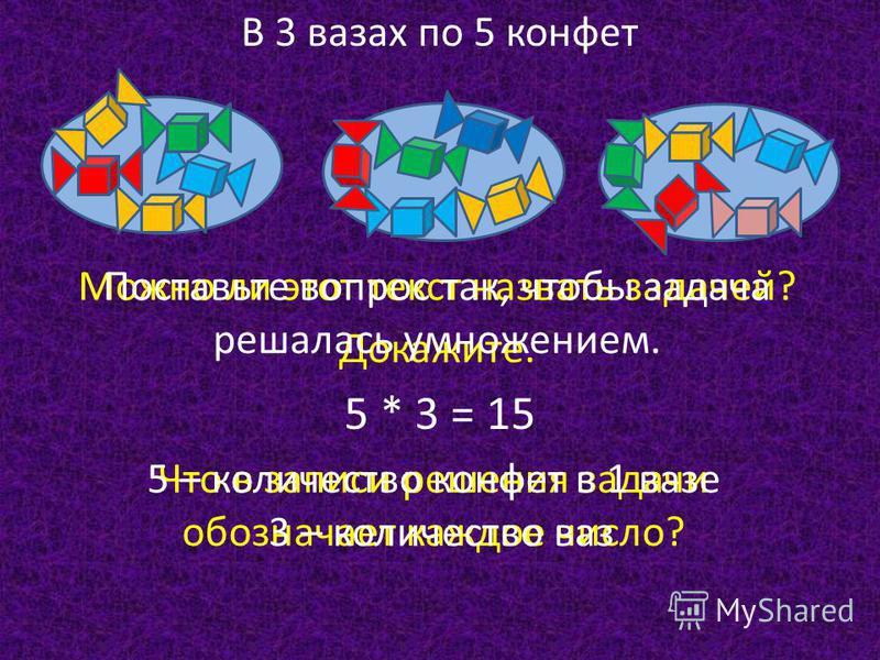 В 3 вазах по 5 конфет Можно ли этот текст назвать задачей? Докажите. Поставьте вопрос так, чтобы задача решалась умножением. 5 * 3 = 15 Что в записи решения задачи обозначает каждое число? 5 – количество конфет в 1 вазе 3 – количество ваз