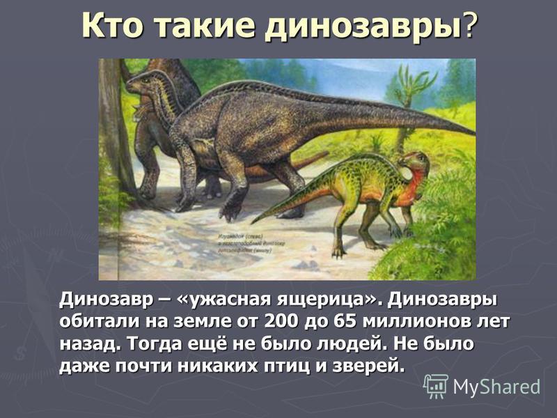 Кто такие динозавры? Динозавр – «ужасная ящерица». Динозавры обитали на земле от 200 до 65 миллионов лет назад. Тогда ещё не было людей. Не было даже почти никаких птиц и зверей.