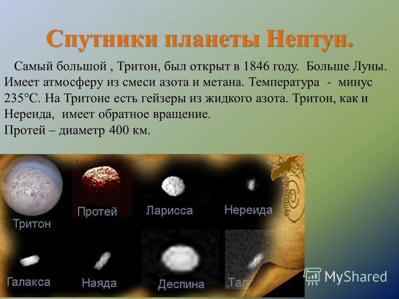 Спутники планеты Нептун. Самый большой, Тритон, был открыт в 1846 году. Больше Луны. Имеет атмосферу из смеси азота и метана. Температура - минус 235°С. На Тритоне есть гейзеры из жидкого азота. Тритон, как и Нереида, имеет обратное вращение. Протей