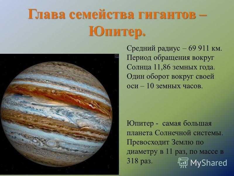 Глава семейства гигантов – Юпитер. Средний радиус – 69 911 км. Период обращения вокруг Солнца 11,86 земных года. Один оборот вокруг своей оси – 10 земных часов. Юпитер - самая большая планета Солнечной системы. Превосходит Землю по диаметру в 11 раз,