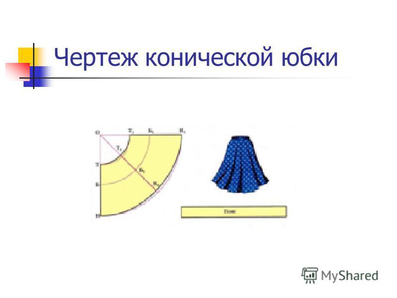 Чертеж конической юбки