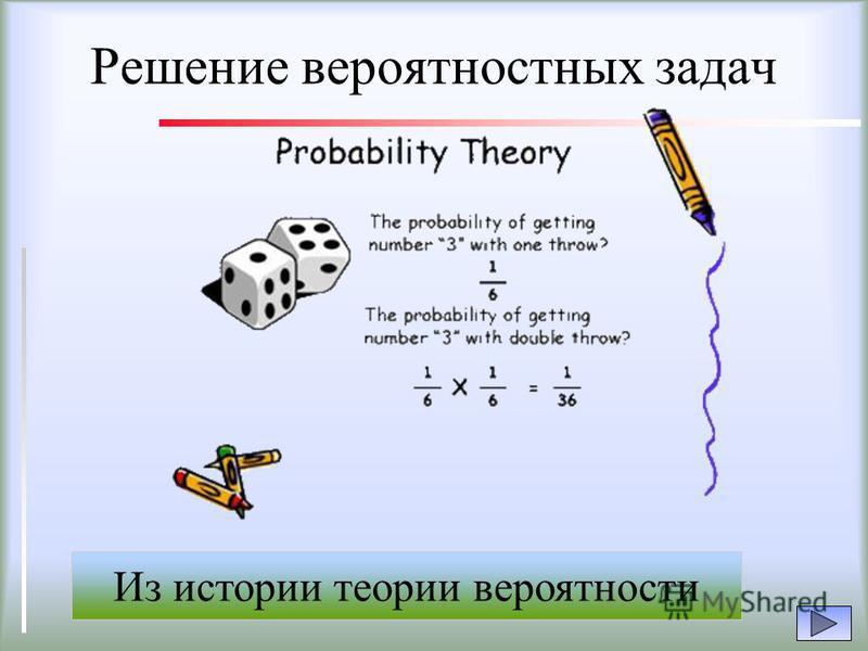 Решение вероятностных задач Из истории теории вероятности