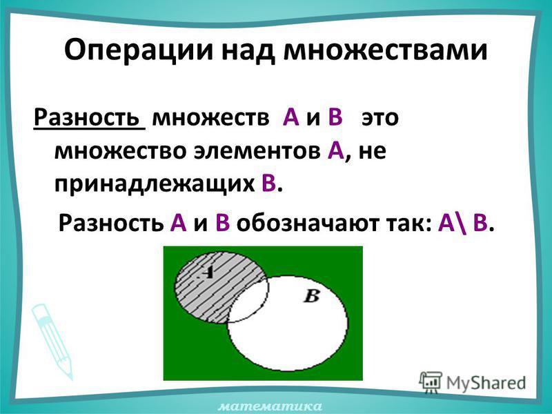 математика Операции над множествами Разность множеств А и В это множество элементов А, не принадлежащих В. Разность А и В обозначают так: А\ В.
