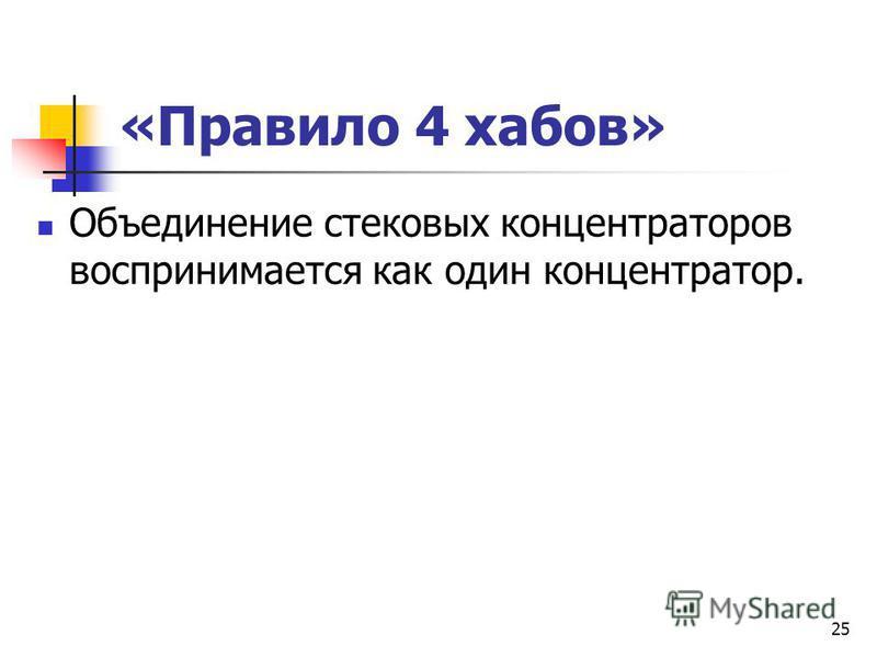 «Правило 4 хабов» Объединение стековых концентраторов воспринимается как один концентратор. 25