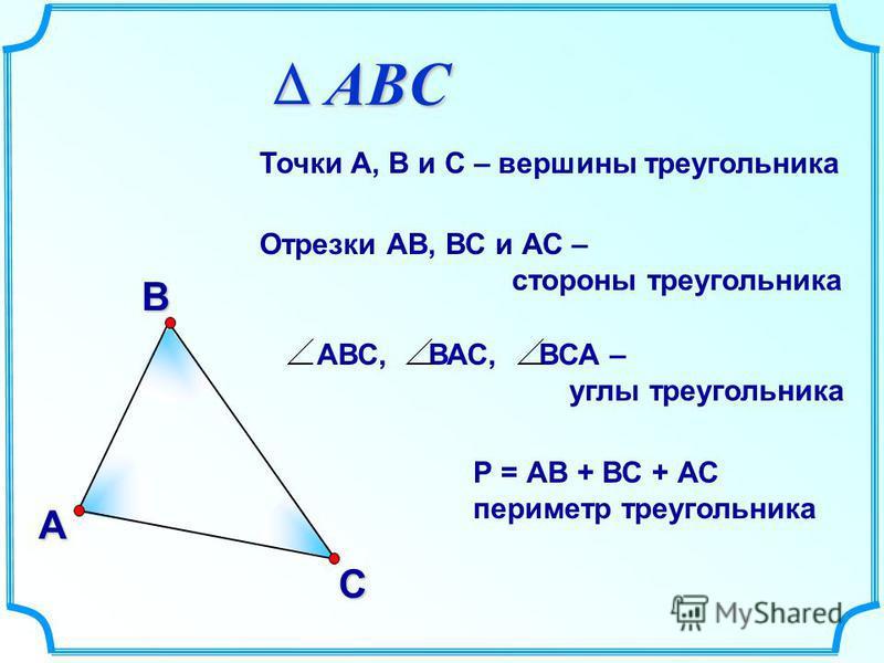 В А С Точки А, В и С – вершины треугольника Отрезки АВ, ВС и АС – стороны треугольника АВС, ВАС, ВСА – углы треугольника Р = АВ + ВС + АС периметр треугольника ABC