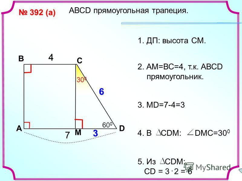 A В С D 392 (а) 392 (а) 4 7 30 0 ? М 4 3 6 60 0 АВСD прямоугольная трапеция. 1.ДП: высота СМ. 3. MD=7-4=3 2. АМ=ВС=4, т.к. АВСD прямоугольник. 5. Из СDM: CD = 3 2 = 6 4. В СDM: DMC=30 0