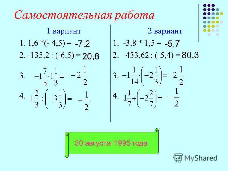 Самостоятельная работа 1 вариант 2 вариант 1. 1,6 *(- 4,5) =1. -3,8 * 1,5 = 2. -135,2 : (-6,5) =2. -433,62 : (-5,4) = 3. 4. -7,2 20,8 -5,7 80,3 30 августа 1995 года