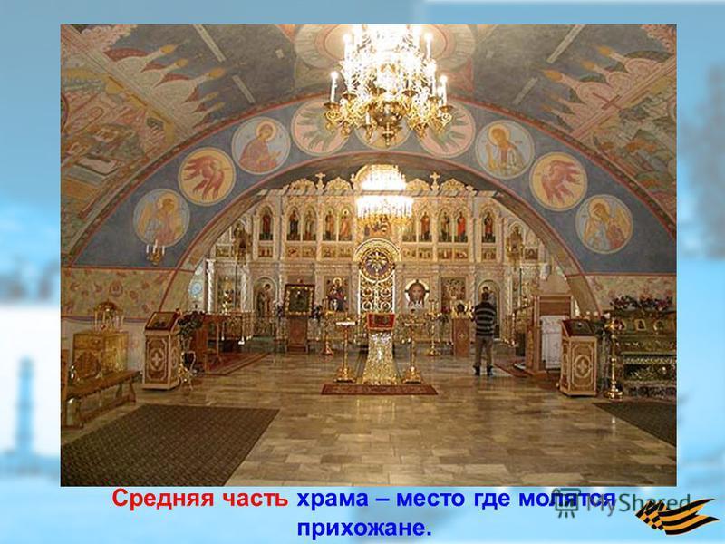 Средняя часть храма – место где молятся прихожане.