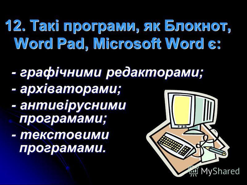 11. Розширення.rar мають: - текстові документи; - графічні документи; - архіви; - електронні таблиці.