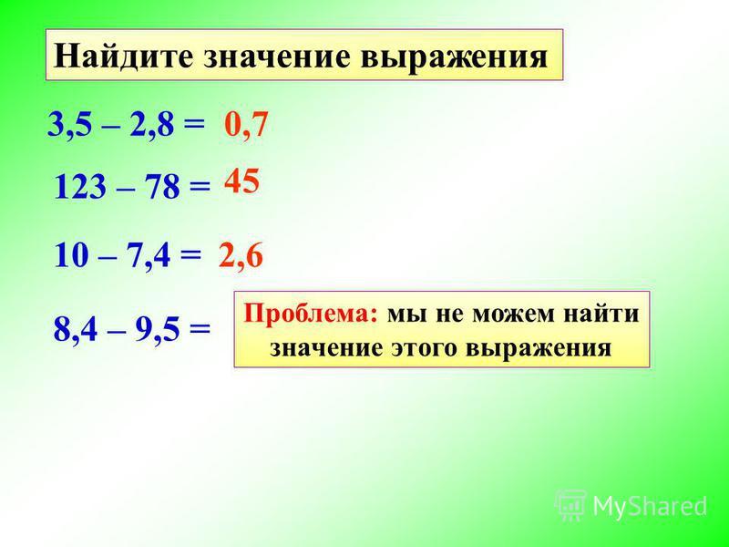 0,7 Найдите значение выражения 3,5 – 2,8 = 123 – 78 = 45 10 – 7,4 =2,6 8,4 – 9,5 = Проблема: мы не можем найти значение этого выражения