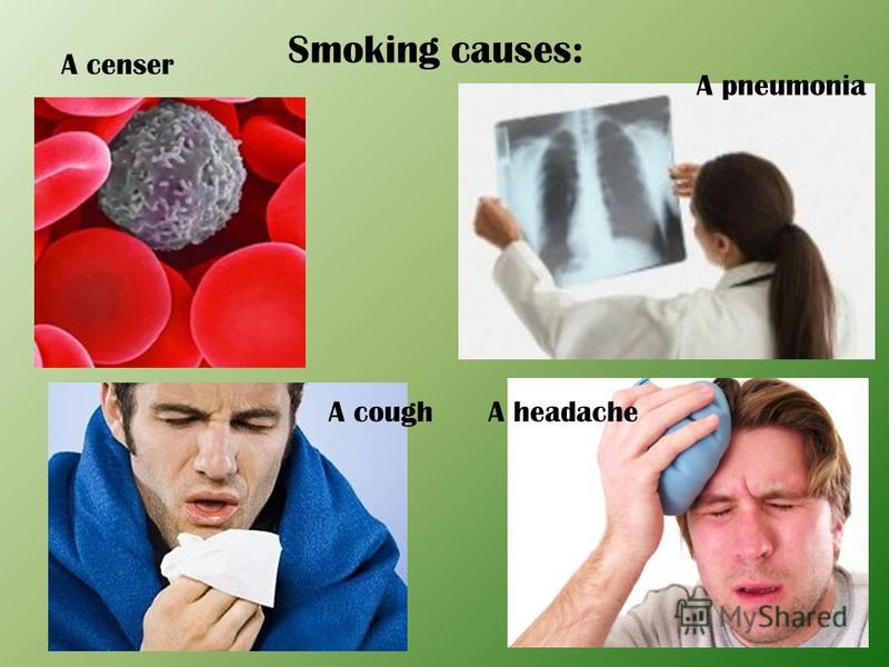 Smoking causes: A coughA headache A pneumonia A censer