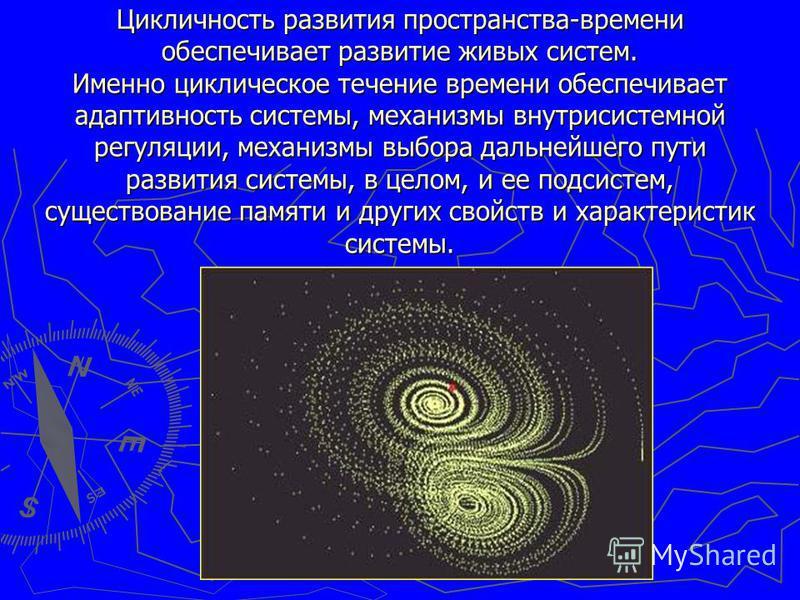Цикличность развития пространства-времени обеспечивает развитие живых систем. Именно циклическое течение времени обеспечивает адаптивность системы, механизмы внутрисистемной регуляции, механизмы выбора дальнейшего пути развития системы, в целом, и ее