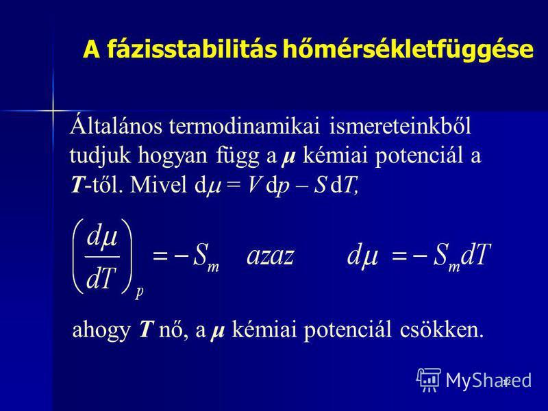 12 A fázisstabilitás hőmérsékletfüggése Általános termodinamikai ismereteinkből tudjuk hogyan függ a μ kémiai potenciál a T-től. Mivel d = V dp – S dT, ahogy T nő, a μ kémiai potenciál csökken.