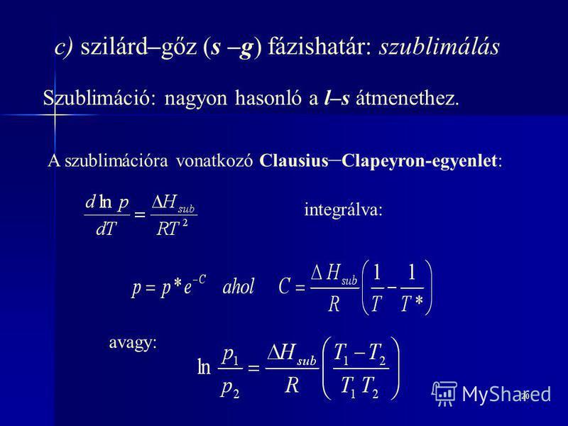 20 c) szilárd–gőz (s –g) fázishatár: szublimálás Szublimáció: nagyon hasonló a l–s átmenethez. A szublimációra vonatkozó Clausius – Clapeyron-egyenlet: integrálva: avagy: