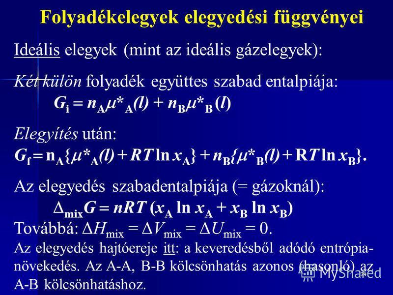 39 Folyadékelegyek elegyedési függvényei Ideális elegyek (mint az ideális gázelegyek): Két külön folyadék együttes szabad entalpiája: G i n A * A (l) + n B * B (l) Elegyítés után: G f n A { * A (l) + RT ln x A } + n B { * B (l) + RT ln x B }. Az eleg