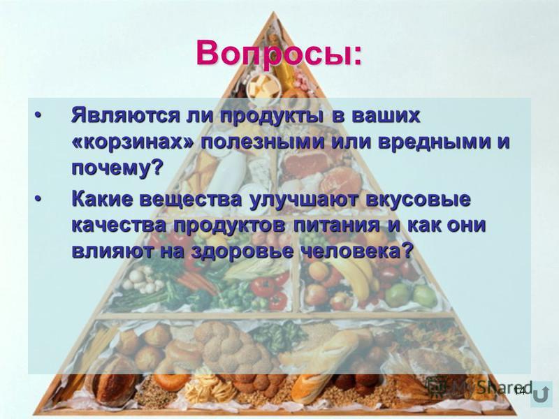 Вопросы: Являются ли продукты в ваших «корзинах» полезными или вредными и почему?Являются ли продукты в ваших «корзинах» полезными или вредными и почему? Какие вещества улучшают вкусовые качества продуктов питания и как они влияют на здоровье человек