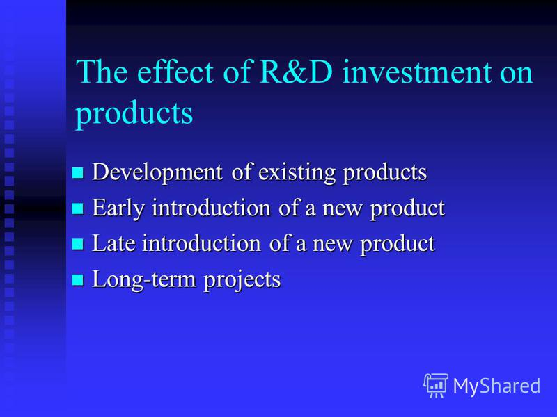 The effect of R&D investment on products Development of existing products Development of existing products Early introduction of a new product Early introduction of a new product Late introduction of a new product Late introduction of a new product L