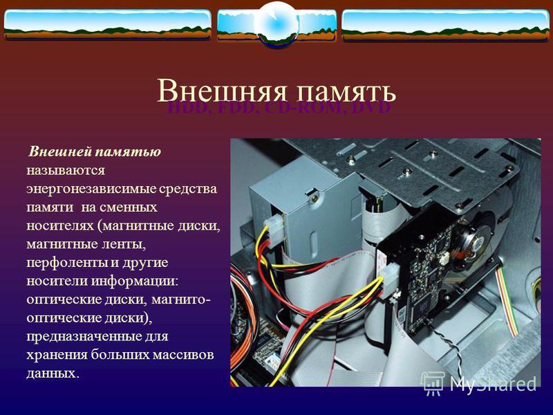 Внешняя память Внешней памятью называются энергонезависимые средства памяти на сменных носителях (магнитные диски, магнитные ленты, перфоленты и другие носители информации: оптические диски, магнито- оптические диски), предназначенные для хранения бо