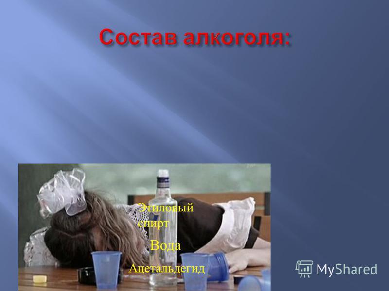 Этиловый спирт Вода Ацетальдегид