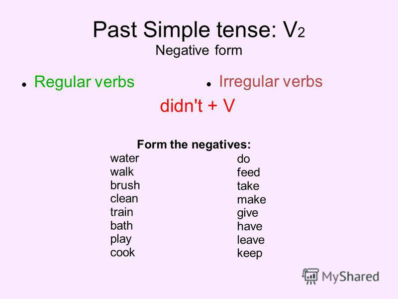 Past Simple tense: V 2 Negative form Regular verbs Irregular verbs didn't + V Form the negatives: water walk brush clean train bath play cook do feed take make give have leave keep