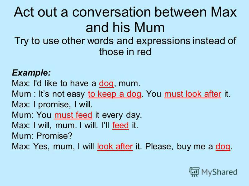 Act out a conversation between Max and his Mum Try to use other words and expressions instead of those in red Example: Max: I'd like to have a dog, mum. Mum : Its not easy to keep a dog. You must look after it. Max: I promise, I will. Mum: You must f