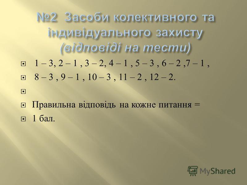 1 – 3, 2 – 1, 3 – 2, 4 – 1, 5 – 3, 6 – 2,7 – 1, 8 – 3, 9 – 1, 10 – 3, 11 – 2, 12 – 2. Правильна відповідь на кожне питання = 1 бал.