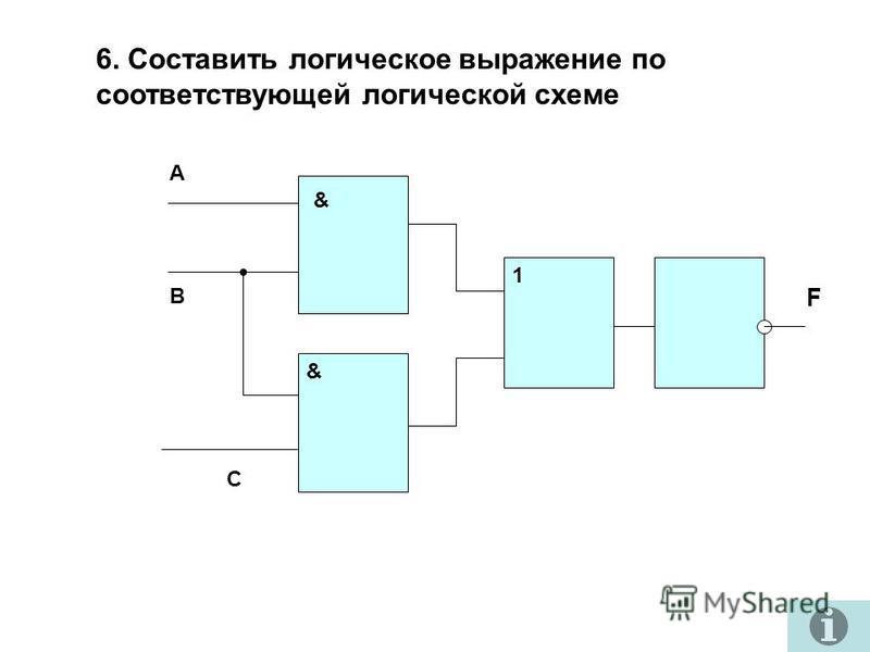 6. Составить логическое выражение по соответствующей логической схеме А В С & & 1 F