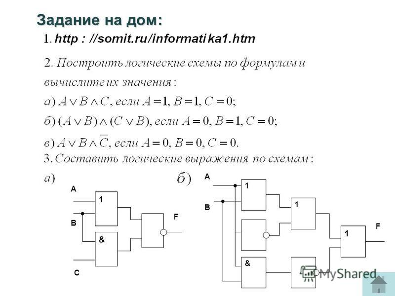 Задание на дом: 1 & 1 1 А В F F 1 & А В С