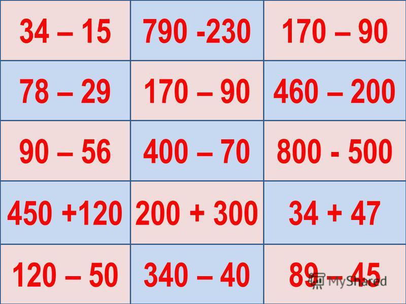 34 – 15 90 – 56 120 – 50 170 – 90 200 + 300 170 – 90 800 - 500 89 – 45 78 – 29 450 +120 790 -230 400 – 70 340 – 40 460 – 200 34 + 47