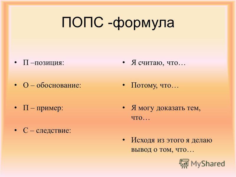 ПОПС -формула П –позиция: О – обоснование: П – пример: С – следствие: Я считаю, что… Потому, что… Я могу доказать тем, что… Исходя из этого я делаю вывод о том, что…