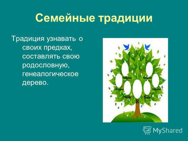 Традиция узнавать о своих предках, составлять свою родословную, генеалогическое дерево.