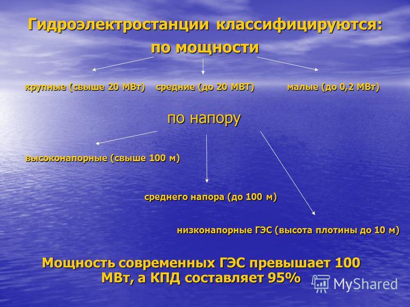 Гидроэлектростанции классифицируются: по мощности крупные (свыше 20 МВт) средние (до 20 МВТ) малые (до 0,2 МВт) по напору высоконапорные (свыше 100 м) среднего напора (до 100 м) низконапорные ГЭС (высота плотины до 10 м) Мощность современных ГЭС прев