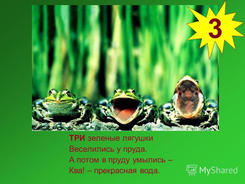 ТРИ зеленые лягушки Веселились у пруда. А потом в пруду умылись – Ква! – прекрасная вода. 3