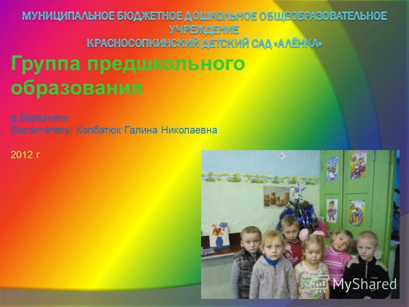 Группа предшкольного образования д.Березняки Воспитатель: Колбатюк Галина Николаевна 2012 г