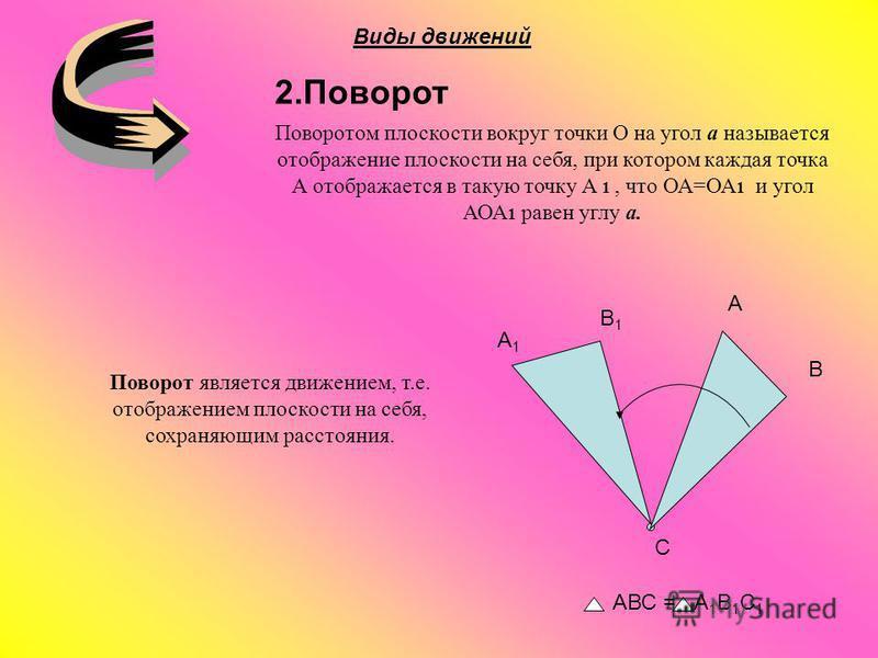 2. Поворот A B C B1B1 A1A1 Виды движений АВС = А 1 В 1 С 1 Поворот является движением, т.е. отображением плоскости на себя, сохраняющим расстояния. Поворотом плоскости вокруг точки О на угол a называется отображение плоскости на себя, при котором каж