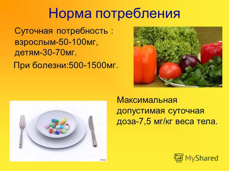 Норма потребления Суточная потребность : взрослым-50-100 мг, детям-30-70 мг. При болезни:500-1500 мг. Максимальная допустимая суточная доза-7,5 мг/кг веса тела.