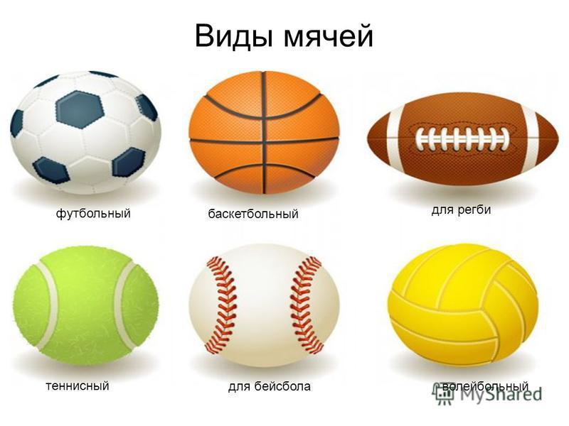 Виды мячей футбольный баскетбольный для регби теннисный для бейсбола волейбольный