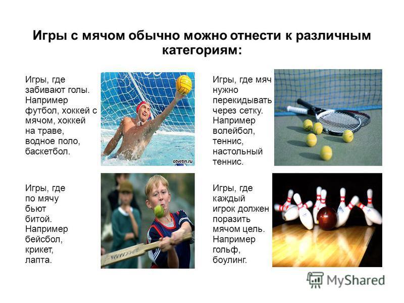 Игры, где забивают голы. Например футбол, хоккей с мячом, хоккей на траве, водное поло, баскетбол. Игры с мячом обычно можно отнести к различным категориям: Игры, где каждый игрок должен поразить мячом цель. Например гольф, боулинг. Игры, где по мячу