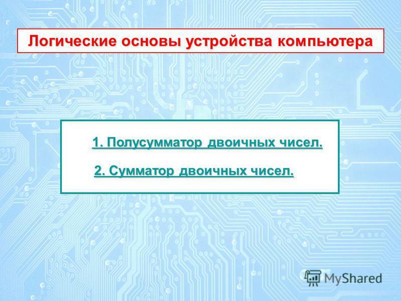 1. Полусумматор двоичных чисел. 1. Полусумматор двоичных чисел. 2. Сумматор двоичных чисел. 2. Сумматор двоичных чисел. Логические основы устройства компьютера Логические основы устройства компьютера