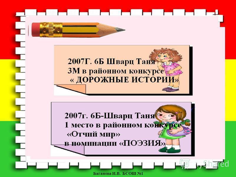 Баганова И.В. БСОШ 1 2007Г. 6Б Шварц Таня 3М в районном конкурсе « ДОРОЖНЫЕ ИСТОРИИ»