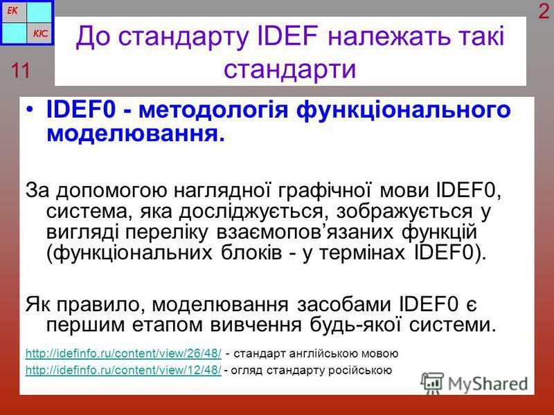 До стандарту IDEF належать такі стандарти IDEF0 - методологія функціонального моделювання. За допомогою наглядної графічної мови IDEF0, система, яка досліджується, зображується у вигляді переліку взаємоповязаних функцій (функціональних блоків - у тер