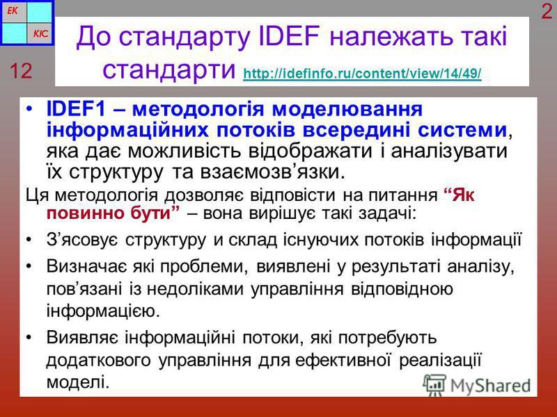 До стандарту IDEF належать такі стандарти http://idefinfo.ru/content/view/14/49/ http://idefinfo.ru/content/view/14/49/ ІDEF1 – методологія моделювання інформаційних потоків всередині системи, яка дає можливість відображати і аналізувати їх структуру
