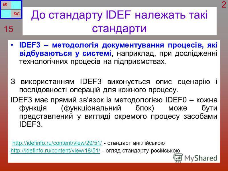 До стандарту IDEF належать такі стандарти IDEF3 – методологія документування процесів, які відбуваються у системі, наприклад, при дослідженні технологічних процесів на підприємствах. З використанням IDEF3 виконується опис сценарію і послідовності опе
