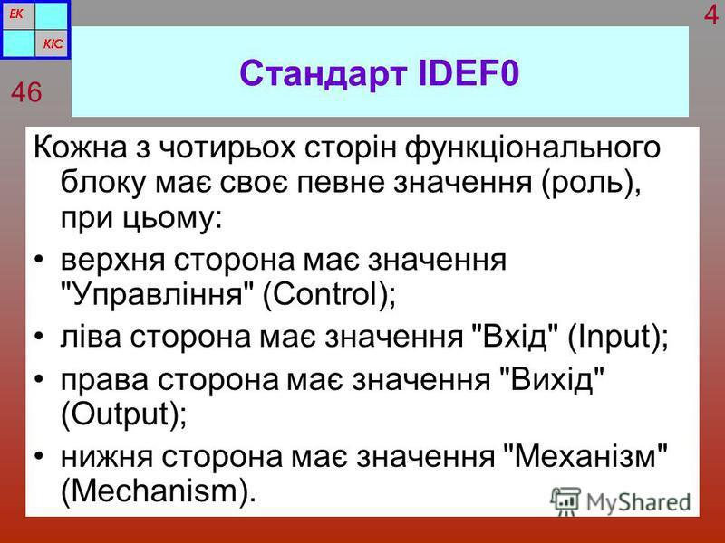 Стандарт IDEF0 Кожна з чотирьох сторін функціонального блоку має своє певне значення (роль), при цьому: верхня сторона має значення
