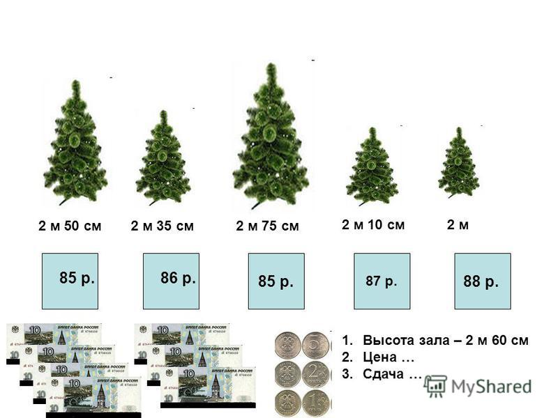 2 м 50 см 2 м 35 см 2 м 75 см 2 м 10 см 2 м 85 р. 87 р. 88 р. 1. Высота зала – 2 м 60 см 2. Цена … 3. Сдача … 86 р.85 р.