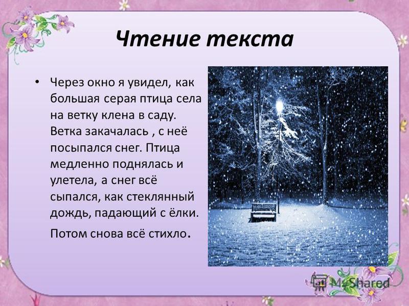 Чтение текста Через окно я увидел, как большая серая птица села на ветку клена в саду. Ветка закачалась, с неё посыпался снег. Птица медленно поднялась и улетела, а снег всё сыпался, как стеклянный дождь, падающий с ёлки. Потом снова всё стихло.