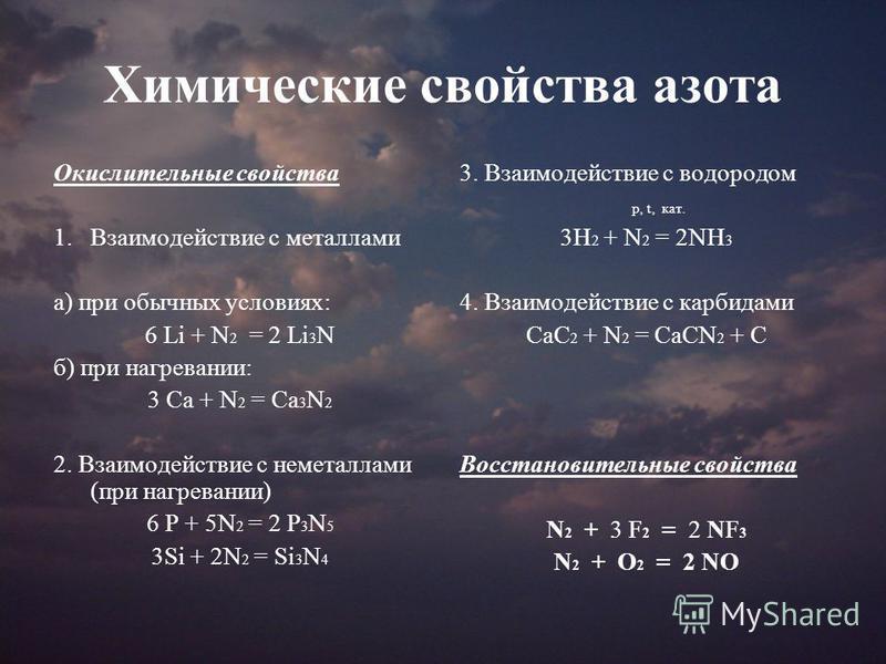 Химические свойства азота Окислительные свойства 1. Взаимодействие с металлами а) при обычных условиях: 6 Li + N 2 = 2 Li 3 N б) при нагревании: 3 Ca + N 2 = Ca 3 N 2 2. Взаимодействие с неметаллами (при нагревании) 6 P + 5N 2 = 2 P 3 N 5 3Si + 2N 2