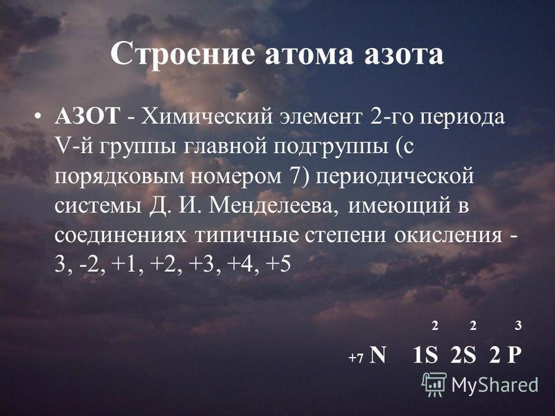 Строение атома азота АЗОТ - Химический элемент 2-го периода V-й группы главной подгруппы (с порядковым номером 7) периодической системы Д. И. Менделеева, имеющий в соединениях типичные степени окисления - 3, -2, +1, +2, +3, +4, +5 2 2 3 +7 N 1S 2S 2